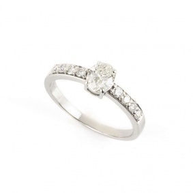 18k White Gold Oval Cut Diamond Ring 0.54ct I/SI